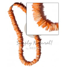 White Rose Orange Splashing 18 inches Puka Shell Necklace BFJ1178NK