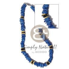 White Rose Yellow Dyed 18 inches Blue Black Puka Shell Necklace BFJ3730NK