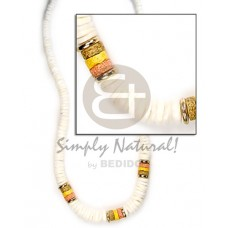 White Shell Painted Graduated 18 inches Shell Necklace BFJ005NK