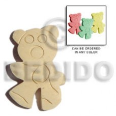 White Wood 35 mm Teddy Bear Pendants - Wooden Pendants BFJ5062P