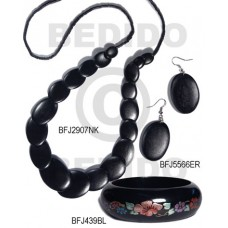 White Wood Black Set Jewelry Long necklace Bangles Earrings Set Jewelry BFJ182SJ