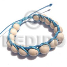 White Wood Bleached White Wax Cord Light Blue 10 mm Wood Bracelets BFJ5370BR