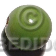 White Wood Coated 25 mm Green Painted Beads Strands Wood Beads - Painted Wood Beads BFJ395WB