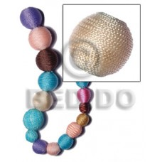 White Wood Cream 20 mm Round Wrapped Per Piece Tiny Cord Wood Beads - Round Wood Beads BFJ308WB