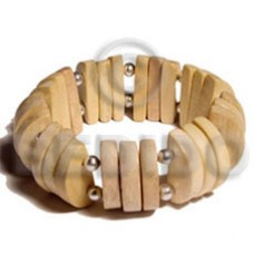 White Wood Elastic Natural Bangles - Wooden Bangles BFJ010BL