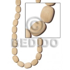 White Wood Flat Oval White 20 mm 16 inches Wood Beads - Flat Round and Oval Wood Beads BFJ164WB