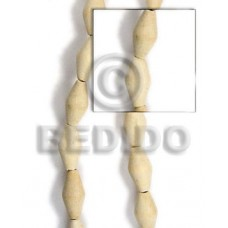 White Wood Football White 10 mm 16 inches Beads Strands Wood Beads - Football and Cylinder Wood Beads BFJ094WB