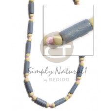 White Wood Glass Beads Pastel Blue Yellow 18 inches Dyed Wooden Necklaces BFJ277NK