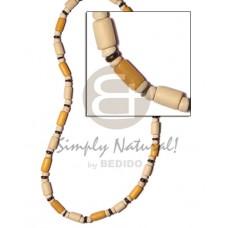 White Wood Golden Yellow Tube Pokalet Wood Dyed Wooden Necklaces BFJ501NK