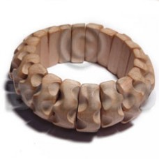 White Wood Natural 70 mm inner diameter Bangles - Plain BFJ648BL