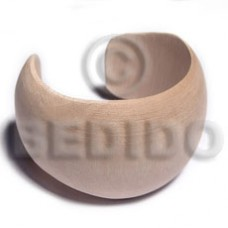 White Wood Natural 70 mm inner diameter Cuff Bangles - Plain BFJ642BL