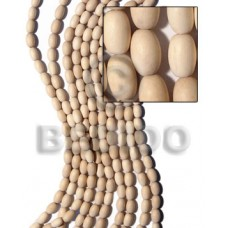 White Wood Oval 10 mm Natural White Beads Strands Wood Beads - Teardrop and Oval Wood Beads BFJ186WB