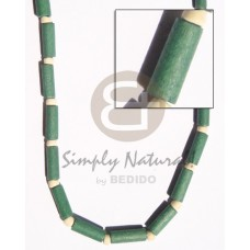 White Wood Pokalet Green Tube Dyed Natural White Wooden Necklaces BFJ128NK