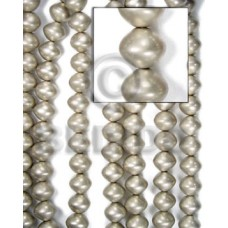 White Wood Silver Painted Saucer 15 mm Beads Strands Wood Beads - Painted Wood Beads BFJ076WB