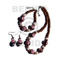 Wood Beads Brown Set Jewelry Earrings Necklace Hand Painted Set Jewelry BFJ038SJ