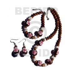 Wood Beads Brown Set Jewelry Earrings Necklace Hand Painted Set Jewelry BFJ038SJ