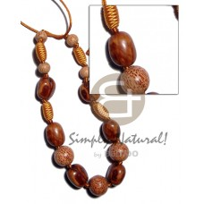 Wood Beads Capsule Palmwood Satin Cord 36 inches Natural Wooden Necklaces BFJ2014NK
