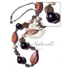 Wood Beads Lumbang Kukui Nut Seed Coconut 32 inches Freeform Brown Black Wooden Necklaces BFJ2934NK
