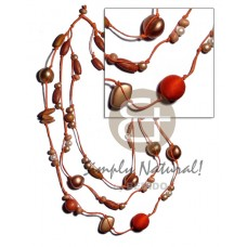 Wood Beads Pearls Lumbang Kukui Nut Seed Orange Bronze Multi Row 18 inches Wax Cord Wooden Necklaces