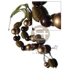 Wood Beads Robles Wood Round Wrapped Beads Gold Olive Green Wooden Necklaces BFJ2385NK