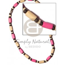 Wood Beads Tube Black Pink Natural White Multi-Color Dyed Wooden Necklaces BFJ509NK