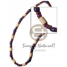 Wood Beads Tube Oval Blue Coconut Dyed Wooden Necklaces BFJ726NK