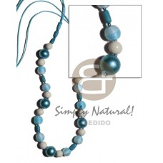 Wood Beads Wax Cord Light Blue 36 inches Wooden Necklaces BFJ2055NK