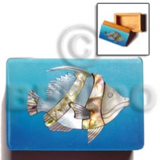 Wood Box Inlaid Fish Large Jewelry Box BFJ005JB