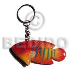 Wood Hand Painted Fish 73 mm Multi-Color Keychain BFJ002KC