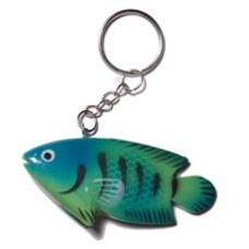 Wood Hand Painted Fish 73 mm Multi-Color Keychain BFJ008KC