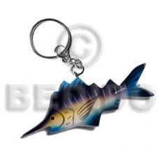 Wood Hand Painted Fish 95 mm Multi-Color Keychain BFJ015KC