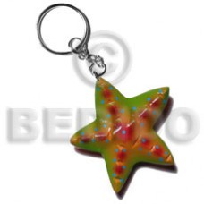 Wood Hand Painted Starfish 60 mm Multi-Color Keychain BFJ016KC