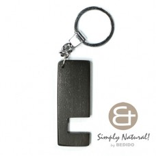Wood Stained Black Coated 64 mm x 24 mm x 5 mm Chrome Keychain IPHONE ANDROID ACCESSORY BFJ081KC