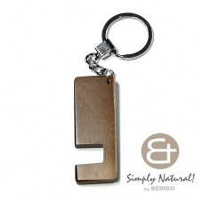 Wood Stained Coffee Coated 64 mm x 24 mm x 5 mm Chrome Keychain IPHONE ANDROID ACCESSORY BFJ078KC