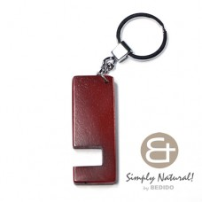 Wood Stained Maroon Coated 64 mm x 24 mm x 5 mm Chrome Keychain IPHONE ANDROID ACCESSORY BFJ080KC