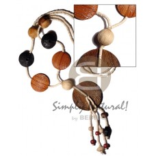 Wood Textured Coconut Heishi Painted 50 mm Flat Round/Coin Bleached White Brown Wooden Necklaces BFJ2393NK