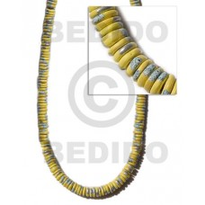 Yellow 16 inches Coconut 7-8 mm Pokalet Painted Coco Pokalet Beads BFJ008SPL