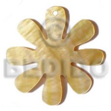 Yellow Mother-Of-Pearl Flower 45 mm Natural Pendants - Shell Pendants BFJ5023P