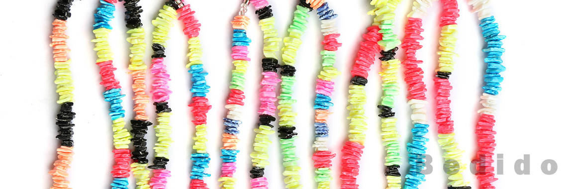 Bright Neon Color Shell Wood Necklace