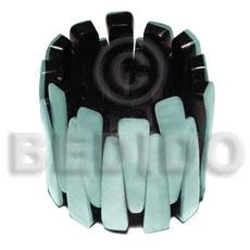 Aqua Blue Hammer Shell Resin Backing Elastic Bangles - Shell Bangles BFJ049BL