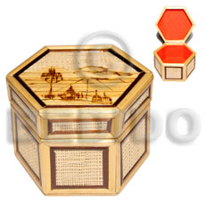 Bamboo Rafia Box Medium Weave Jewelry Box BFJ016JB