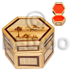 Bamboo Rafia Box Small Weave Jewelry Box BFJ017JB