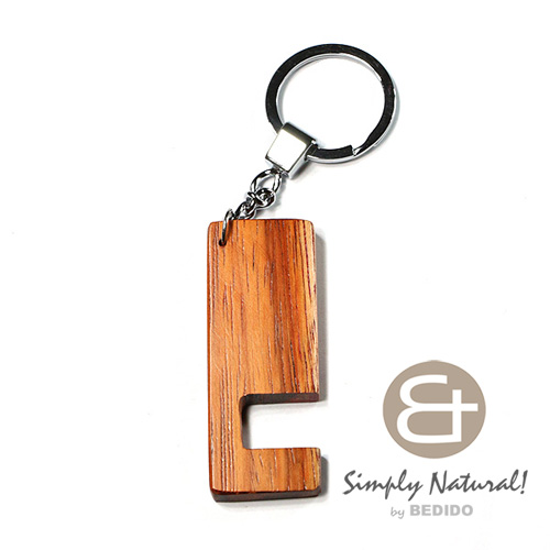 Bayong Wood Brown 64 mm x 24 mm x 5 mm Hardwood Chrome Keychain IPHONE ANDROID ACCESSORY BFJ085KC