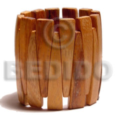 Bayong Wood Elastic Coated 55 mm Brown Bangles - Wooden Bangles BFJ038BL