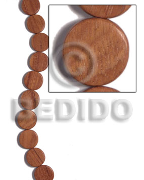 Bayong Wood Hardwood Flat Round/Coin Tablet 20 mm 16 inches Wood Beads - Flat Round and Oval Wood Beads BFJ471WB