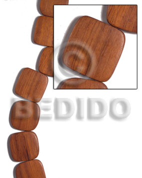 Bayong Wood Hardwood Flat Square Round Edges 25 mm Wood Beads - Flat Square Wood Beads BFJ480WB