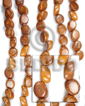 Bayong Wood Slide Cut 15 mm Brown Beads Strands Wood Beads - Slide Cut BFJ067WB