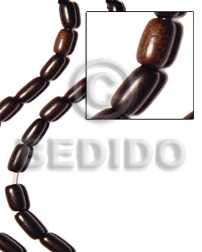 Black 16 inches Kamagong Wood Oval 10 x 15 mm Natural Wood Beads - Football and Cylinder Wood Beads BFJ021WB