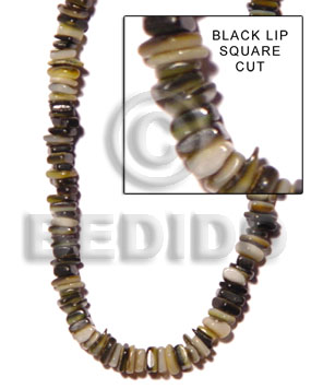 Black Black Lip Shell 16 inches Square Cut Beads Strands Shell Crazy Cut Shell Beads BFJ004SQ