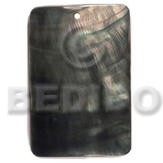 Black Lip Shell 40 mm Rectangular Black Pendants - Simple Cuts BFJ6264P